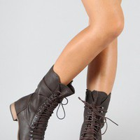 Breckelle Georgia-24 Lace Up Military Mid Calf Boot