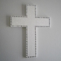 WHITE GLITTER & BLING Wall Cross - 12.5 x 9 with sparkling white glitter and clear rhinestones