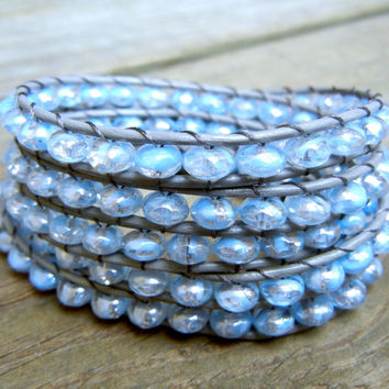 Beaded Leather Wrap Bracelet 4 or 5 Wrap with Crystal Clear Light Blue Czech Glass Beads on Gray Leather