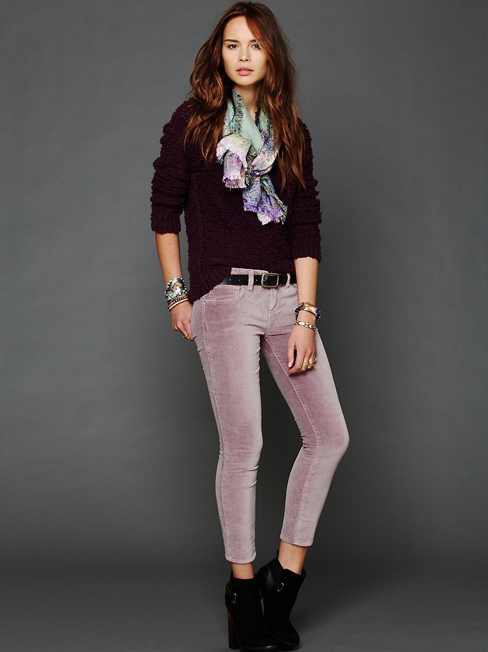 Free People 5-pocket velvet skinnies