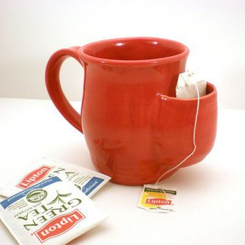 Mug Tea Drinker's Sidekick Red Cup by AngelaIngram on Etsy