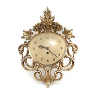 Syroco wall clock - Hollywood Regency gold filigree
