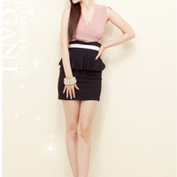fashion Elegant V-cut Patchwork Tight hip Dress | martofchina.com