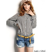 Women Cotton  Lapel Long Sleeve Stripped Black One Size Top@A6039b