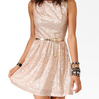 Sequined Cocktail Dress w/ Belt
