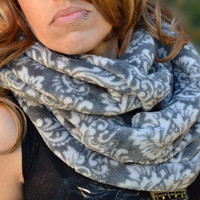 Fleece infinity scarf, cowl, neck tie, winter fashion scarf in grey floral print