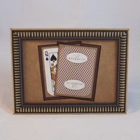 Bellagio Las Vegas 5x7 Queen of Spades Authentic Playing Card Display Matted FRAMED DIE CUT nf2705