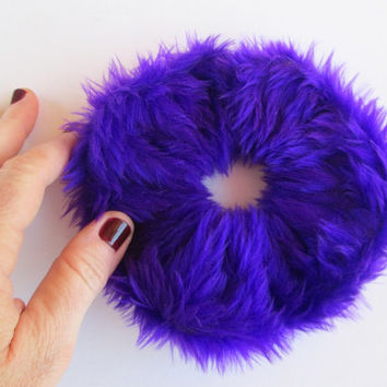 BIG Purple Faux Fur Scrunchie, 90's Fuzzy Furry Hair Scrunchies, Fluffy Hair Band, Ponytail Holder, Cuff Bracelet , Winter Hair Accessories