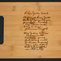 Recipe scanned from Mom's or Grandma's handwriting - Bamboo Cutting Board with Laser Engraved Recipe - Personalized  13 x 9.5