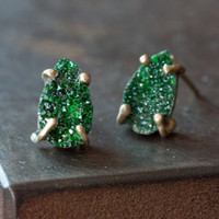 Green Uvarovite Garnet Stud Earrings-druzy- studs- posts- prong setting- natural