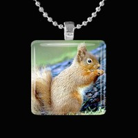 Squirrel Glass Pendant