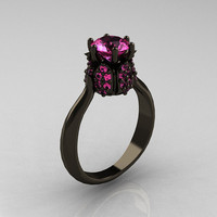 14K Black Gold 1.0 Carat Pink Sapphire Tulip Solitaire Engagement Ring NN119-14KBGPS