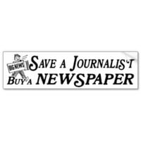 Buy Newspaper Save Journalist Bumper Sticker from Zazzle.com