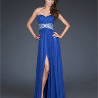 Strapless Sweetheart Beaded Empire Waist With Side Slit Floor Length Chiffon Prom Dress PD2117 Dresses UK