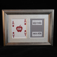 New York New York Las Vegas 5x7 Blackjack? Hearts Authentic Playing Card Display Matted FRAMED NF2208