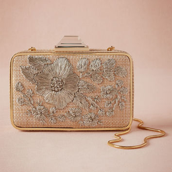 Argent Embroidered Box Clutch
