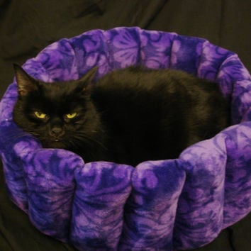Cat bed, dog bed, pet bed, kitty bed deep bed, machine washable, purple pet bed, purple cat bed, black cat, dryer safe, round bed, deep bed
