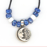Happy Moon and Stars Reversible Pendant Cord Necklace