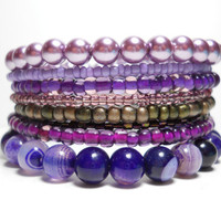 Memory Wire Bracelet Purple Striate Agate Stacking Bracelet