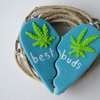 Blueberry Haze Best Buds Split Heart Marijuana Leaf Necklace Set
