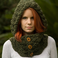 Hooded Cowl, Wood Button Crochet hooded scarf, Olive green