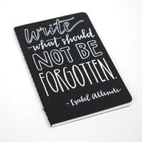 Hand-Lettered Pocket Moleskine . Modern Calligraphy . Small Writing Journal . White Ink on Black . Write What Should Not Be Forgotten