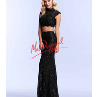 Mac Duggal Black Two Piece Crop Top Sequin Dress Prom 2015