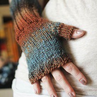 Multi-colored Fingerless Gloves in Earth Tones- IN STOCK