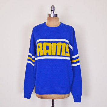 Vintage 80s 90s Blue & Yellow Stripe Official Cliff Engle Rams NFL Football Team Sports Slouchy Oversize Sweater Jumper Men Women S M L