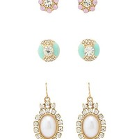 Stone & Pearl Earrings - 3 Pack by Charlotte Russe - Multi