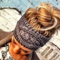 Mocha Brown, Gray or Cream Cable Knit Ear Warmer Headbands