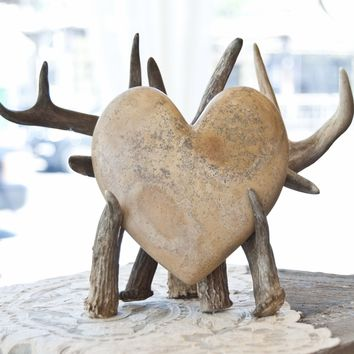 One-of-a-Kind Carved Heart on Antler Stand