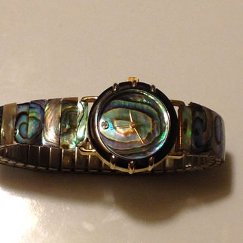 Lucoral Natural Abalone Shell Ladies Wristwatch Diamond Quartz 100% Sterling Silver Stretch Band Japan Movement Vintage Valentine Gift