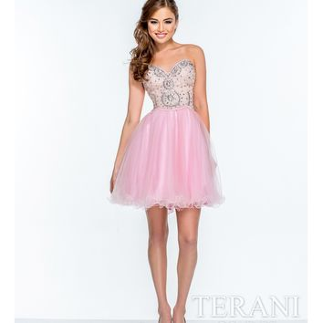 Terani Pink Strapless Sweetheart Sequined Party Dress Prom 2015