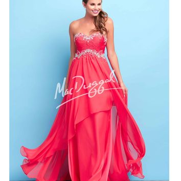 Mac Duggal Flash Elegant Cherry Red Strapless Gown Prom 2015