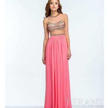 Terani Coral & Gold Illusion Two Piece Gown Prom 2015