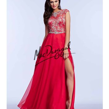 Mac Duggal Red Rhinestone Embellished Flowing Gown Prom 2015
