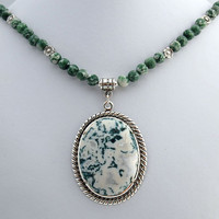 Tree Agate Pendant Necklace