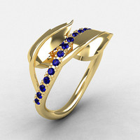 10K Yellow Gold Blue Sapphire Leaf and Vine Wedding Ring, Engagement Ring NN113-10KYGBS