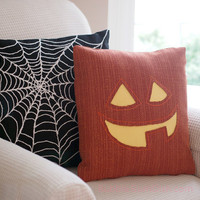 Jack o Lantern Pillow Cover Pumpkin Cute Halloween Decor 16 x 16 Dark Orange