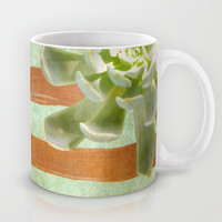 Copper Stripes and Succulents Mug by Lisa Argyropoulos