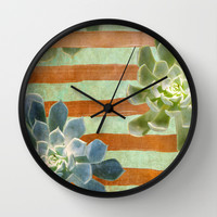 Copper Stripes and Succulents Wall Clock by Lisa Argyropoulos