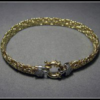 14k Solid Gold Byzantine Bracelet with Diamonds 11.8grams 8