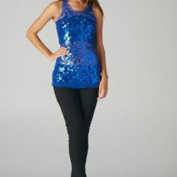 Blue Sleeveless Animal Print Sequin Sheer Top