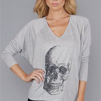 Haute Hippie Grey Skull Long Sleeve Top
