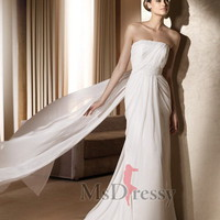 A-line Strapless Floor-length Chiffon Wedding Dress with Sash at Msdressy