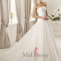 BallGown Strapless Sweep Train  Tulle Wedding Dress at Msdressy