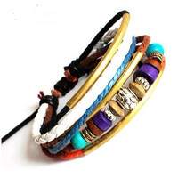 Bangle leather bracelet men bracelet women barcelet  punk rock Bracelet Cuff made of leather and cotton ropes ,wood beads ,metal SH-01022454