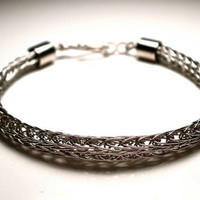 Double Viking Knit Woven Bracelet in Silver