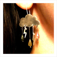 Cumulonimbus Sterling Silver Angry Cloud Earrings Tourmaline Rain Drops Lighting Bolts Delicate Feminine Romantic Gift